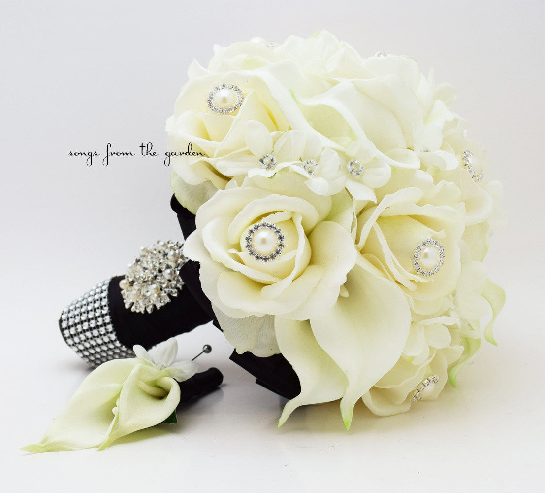 Real Touch Bridal Bouquet Stephanotis Roses Calla Lilies in Black and White & Groom's Boutonniere