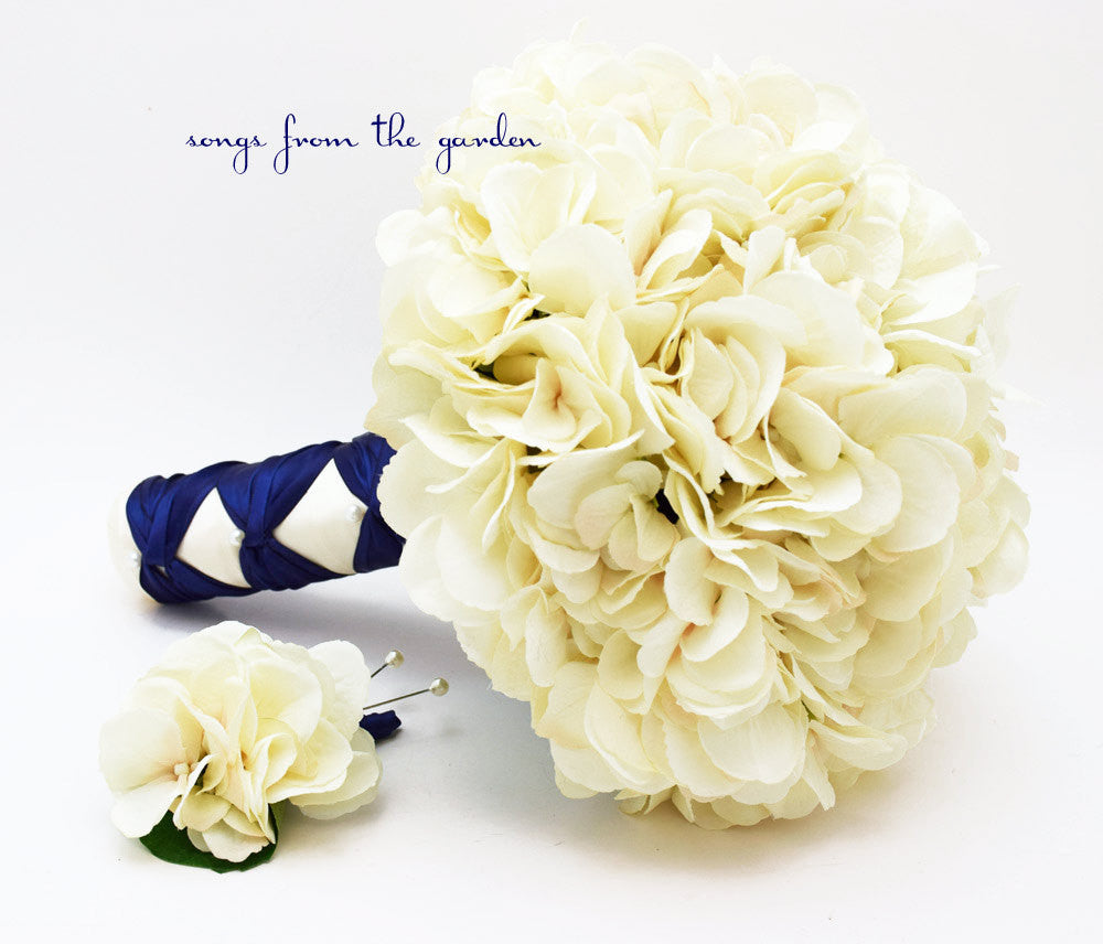 Wedding Bouquet Cream Silk Hydrangea Groom's Boutonniere Navy Ivory Silk Flower Bridal Bouquet