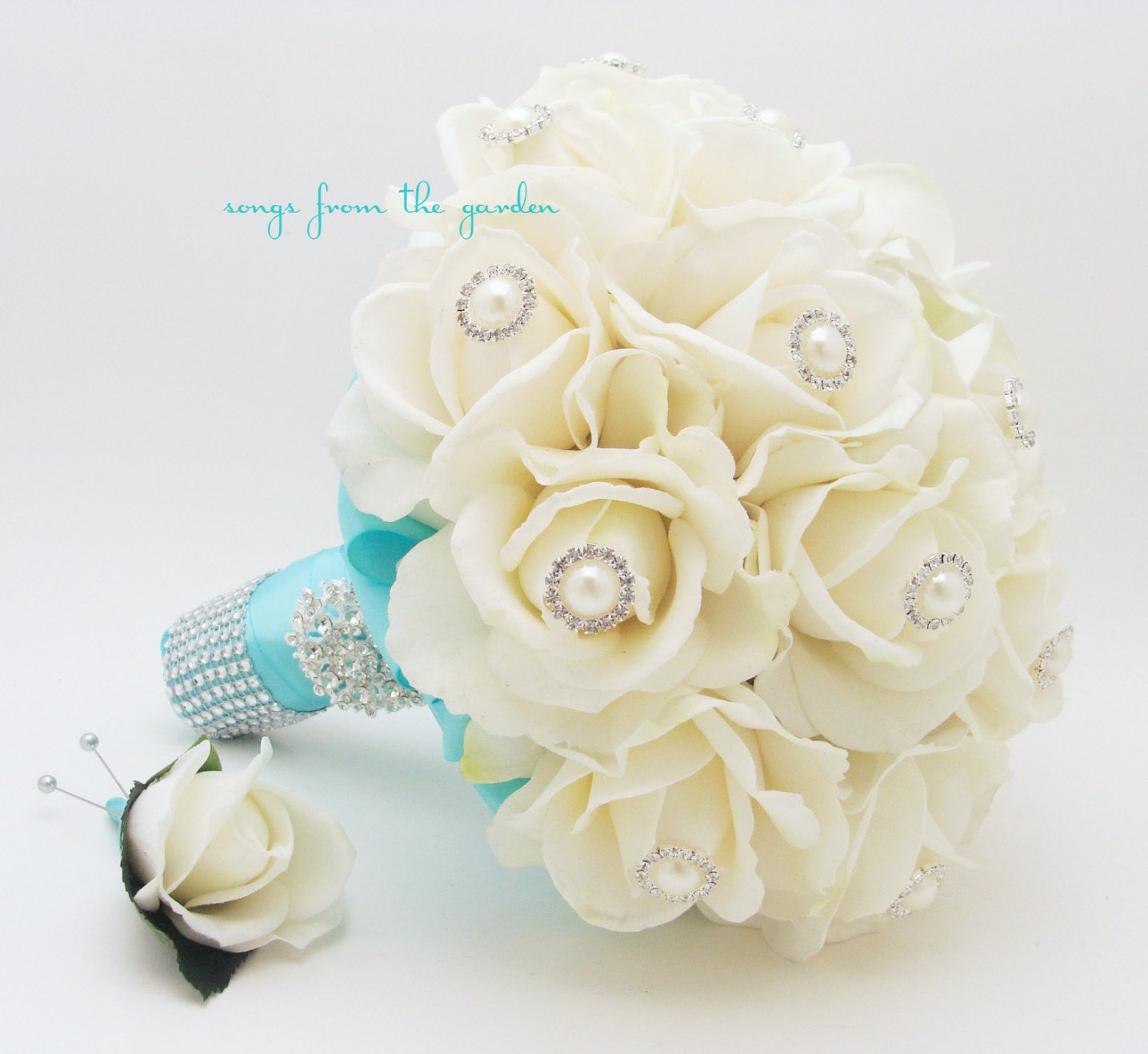 Bridal Bouquet Real Touch Roses Aqua Blue Ribbon with Groom's Boutonniere
