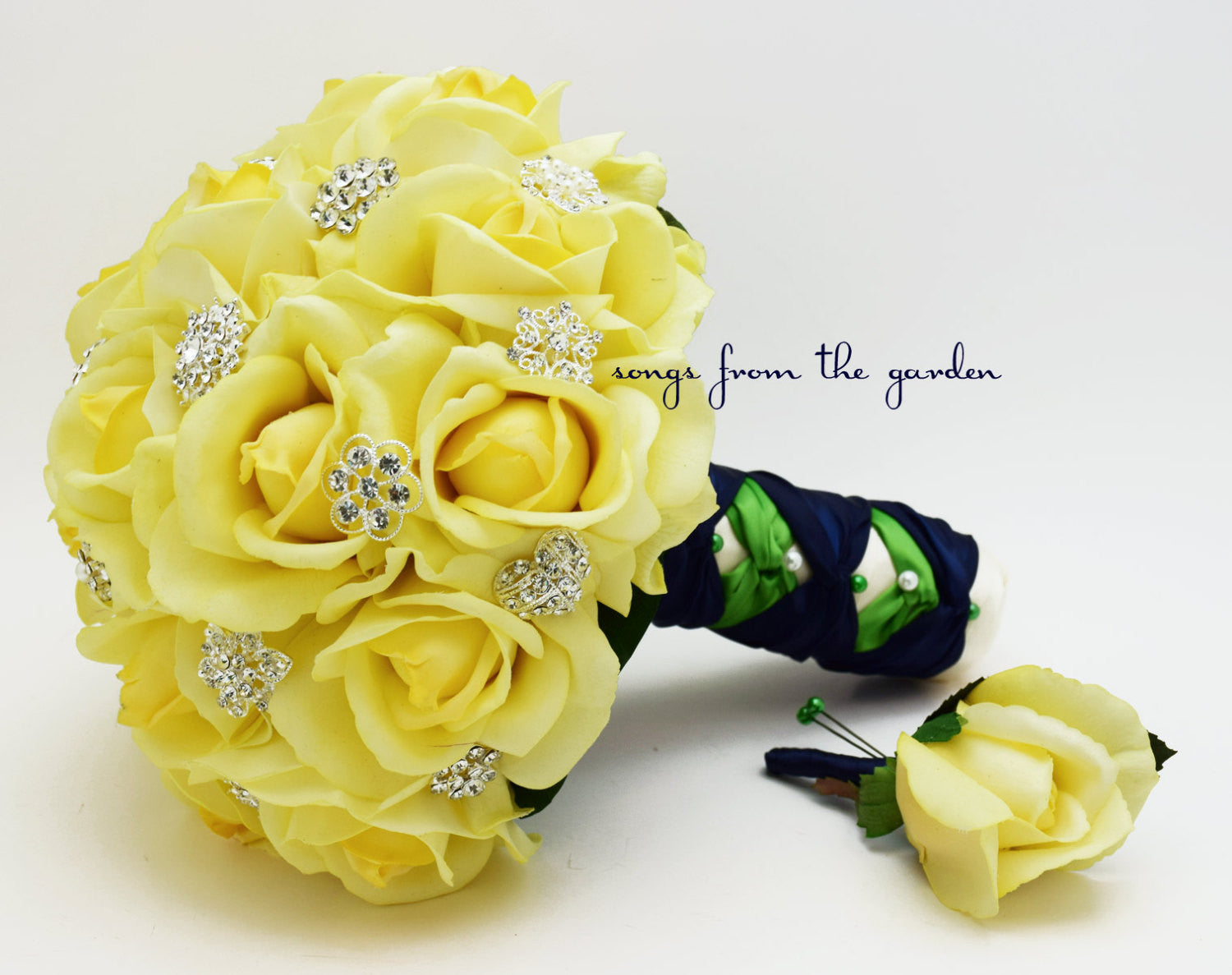 Yellow Roses & Rhinestones Bridal Bouquet Groom's Boutonniere Yellow Navy Kiwi Wedding