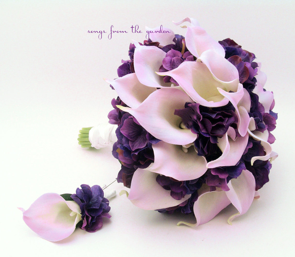 Real Touch Calla Lily Hydrangea Bridal Bouquet Lavender and Purple with Groom's Boutonniere