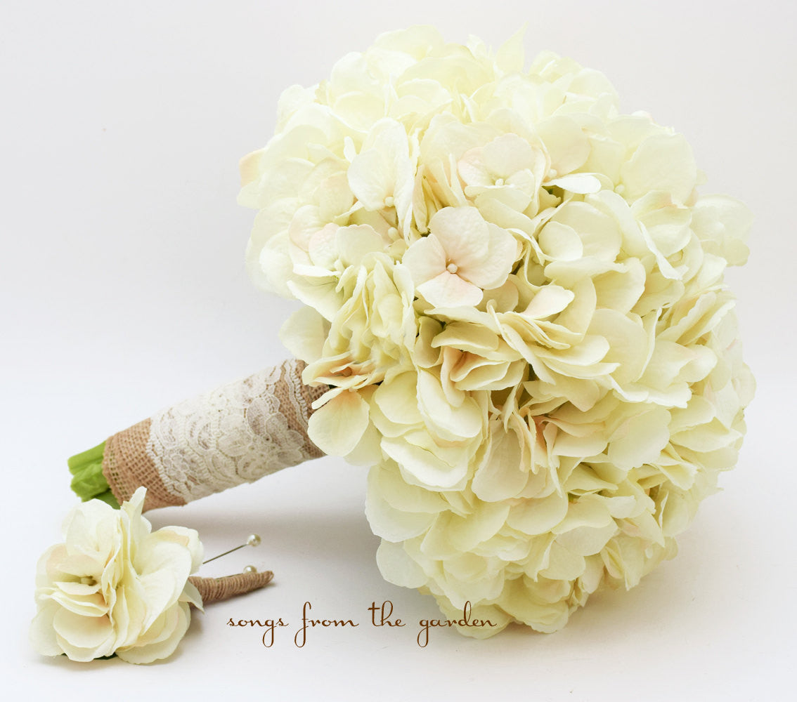 Wedding Bouquet Cream Silk Hydrangea Burlap Lace Groom's Boutonniere Rustic Bridal Bouquet