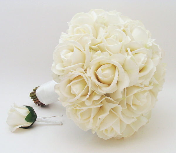 White Real Touch Roses Bridal Bouquet Groom's Boutonniere