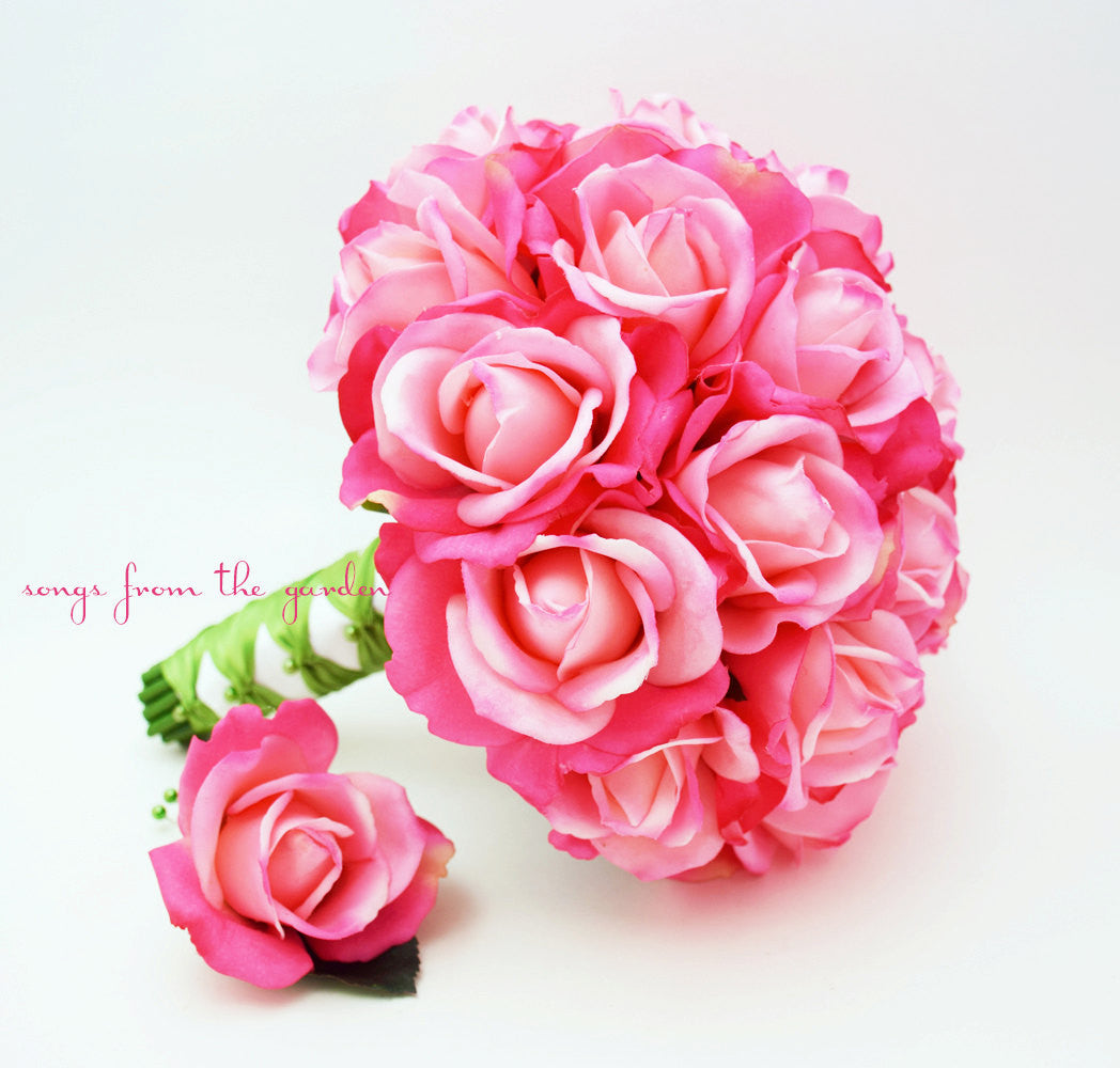 Bridal Bouquet Real Touch Roses Hot Pink Green Wedding Bouquet