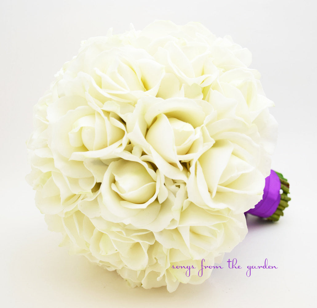 White Real Touch Roses Bridal Bouquet - Customize for your Colors
