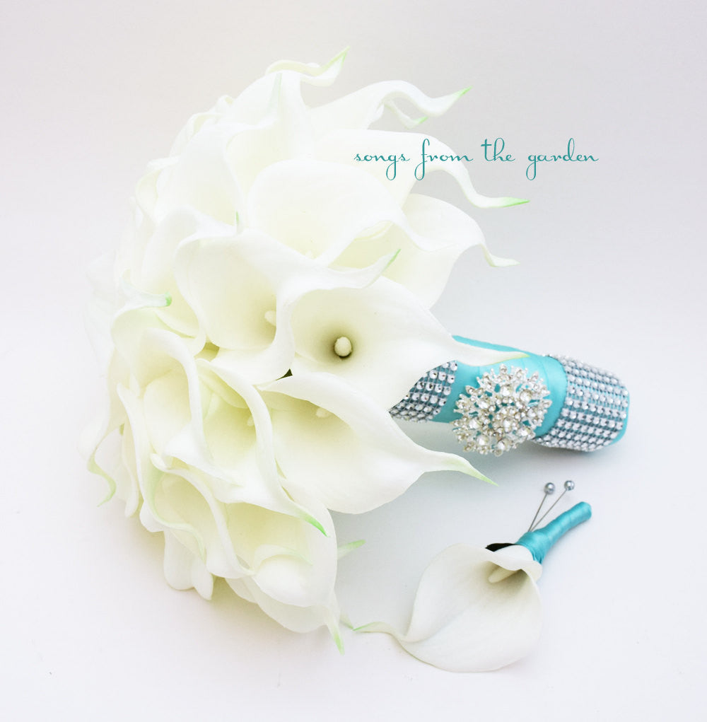 Calla Lily Bridal Bouquet Groom's Boutonniere in White & Aqua Blue with Rhinestone Brooch