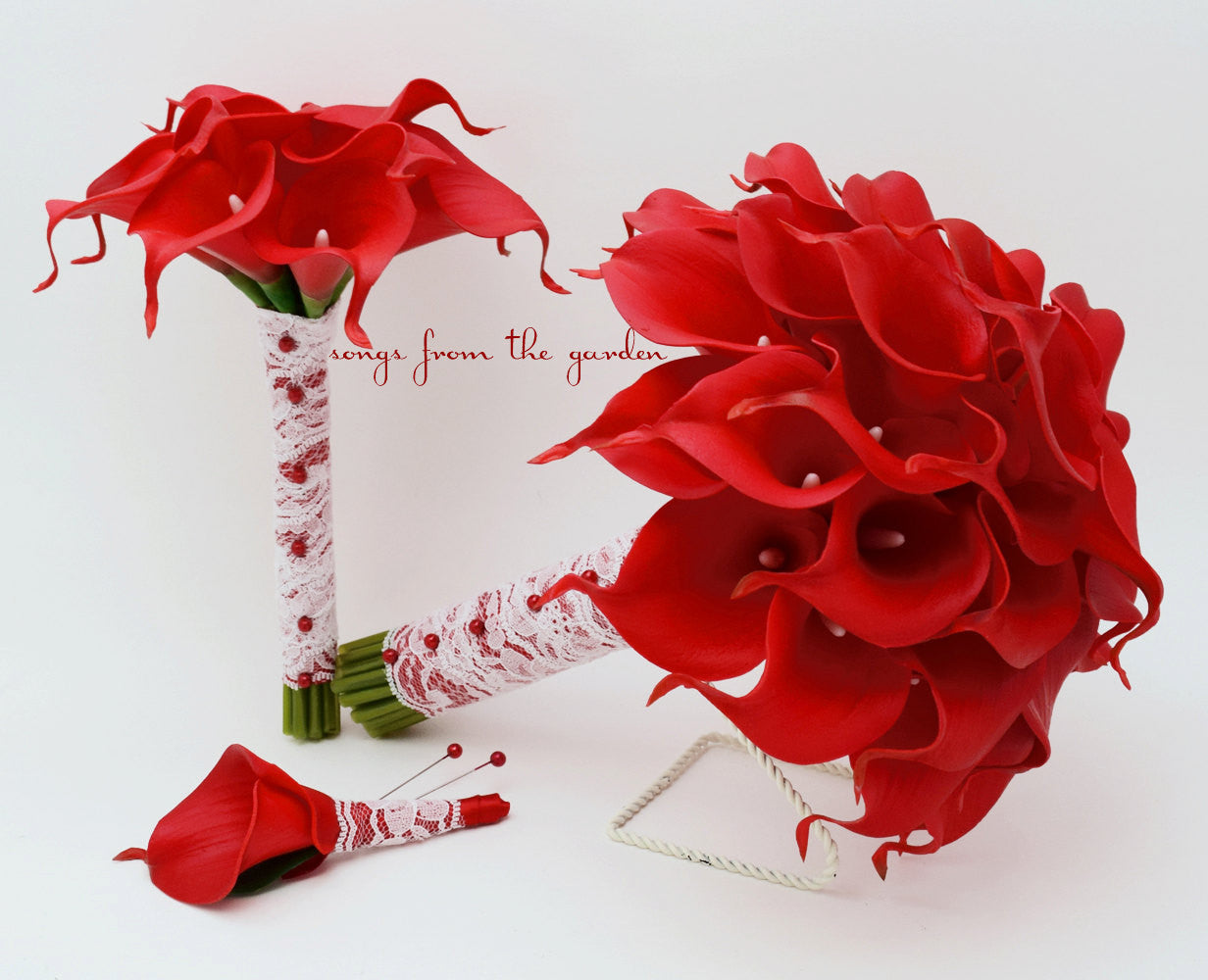 Red Calla Lily Bridal Bouquet Groom's Boutonniere Toss Bouquet Red Ribbon Ivory Lace