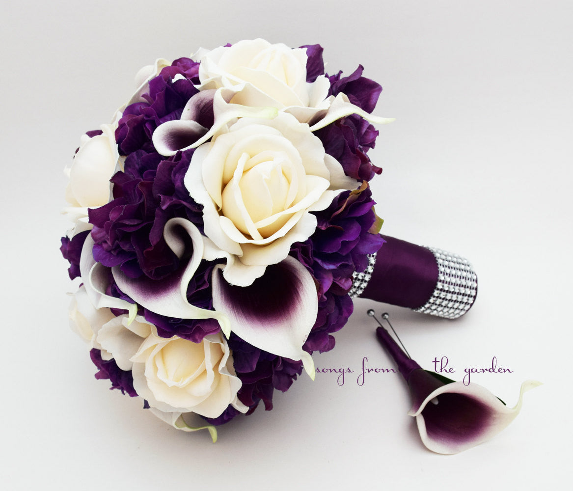 Bridal Bouquet Real Touch Picasso Callas Ivory Roses Purple Hydrangea with Groom's Boutonniere