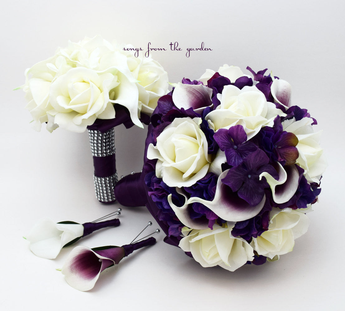 Purple Wedding Package Callas Roses Hydrangea Bridal Bouquet,Grooms Boutonniere & Bridesmaid Bouquet