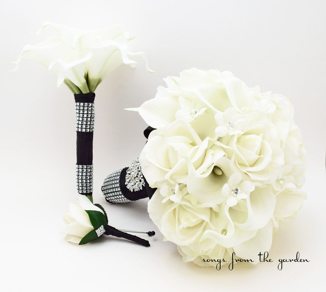 Bridal Bouquet Black & White, Groom's Boutonniere and Toss Bouquet - Black White with Bling
