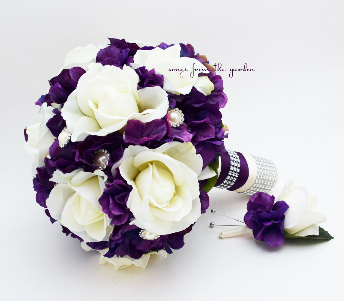 Purple & White Real Touch Rose Hydrangea Wedding Bouquet - Roses Hydrangea Pearl Rhinestone
