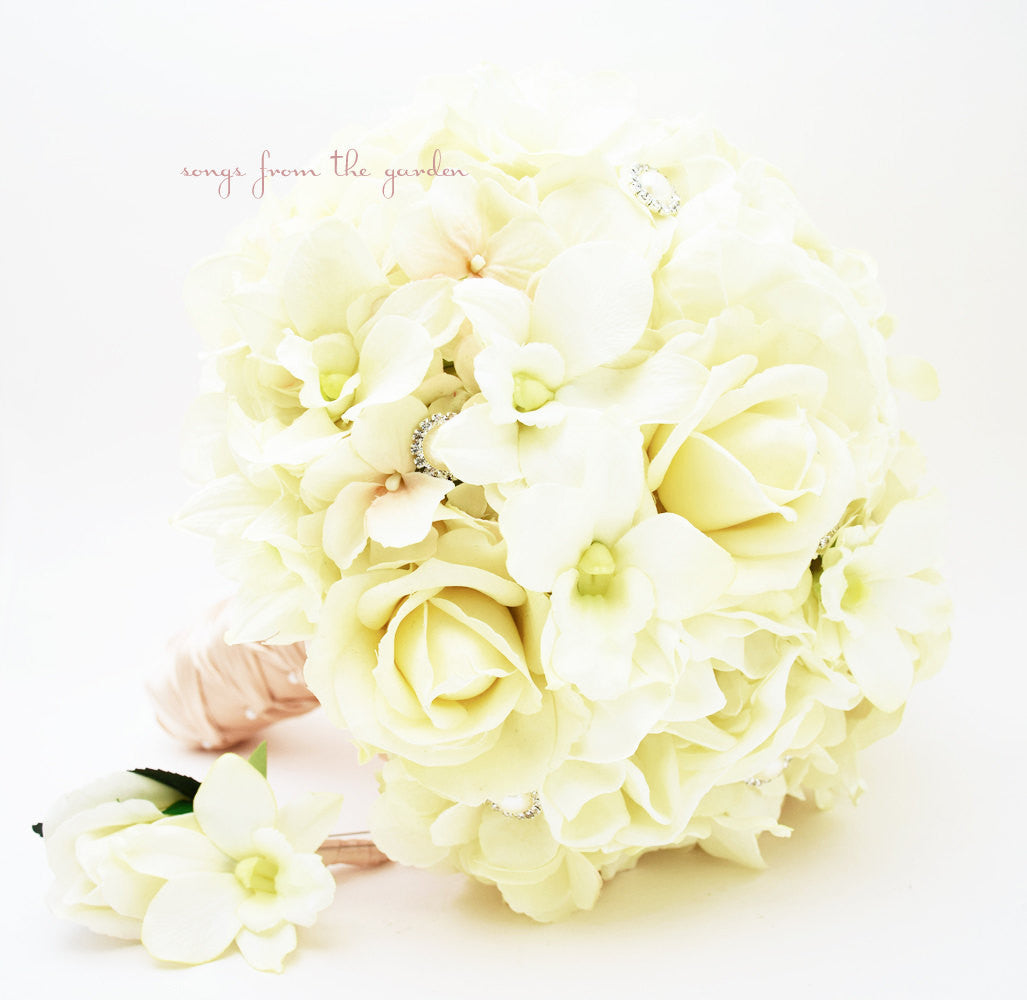 Silk Flower Bridal Bouquet Roses  Peonies Orchids Hydrangea Rhinestone Pearl Rose Groom's Boutonniere
