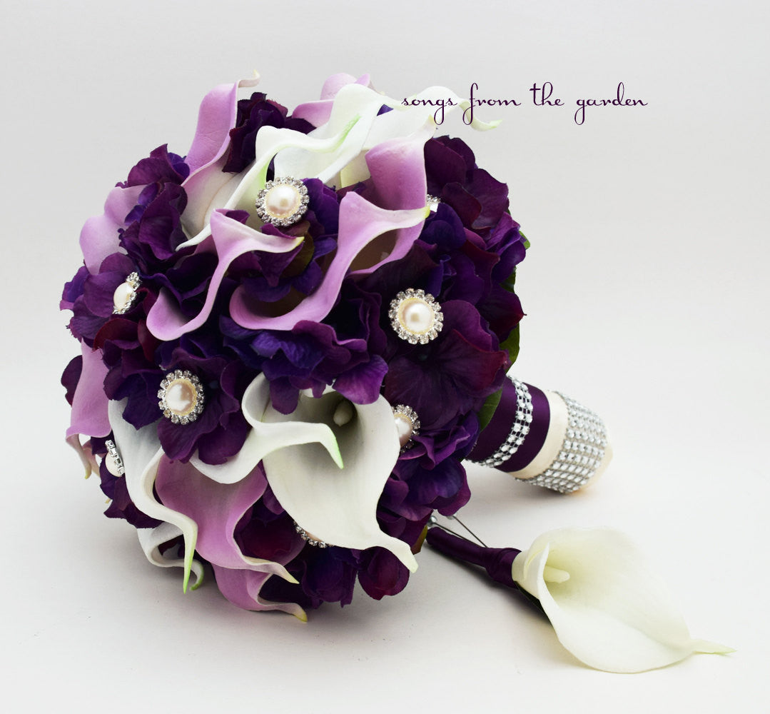 Purple & Lavender Calla Lily Wedding Bouquet Calla Lilies Purple Hydrangea Rhinestone Pearl Accents