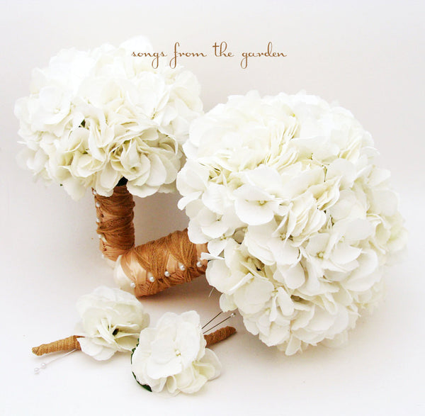 White Silk Hydrangea Bridal & Bridesmaid Bouquet & Groom's Best Man Boutonniere