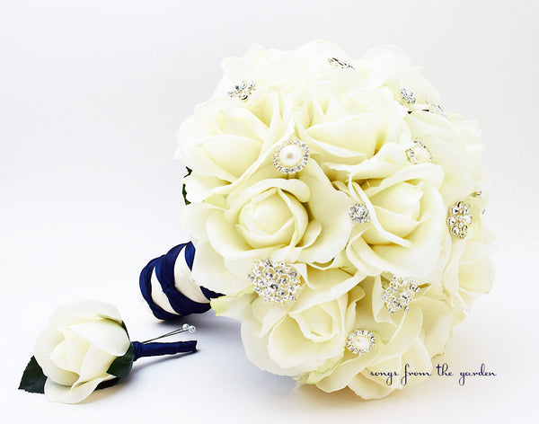 Silk Flower Bridal Bouquet Roses & Rhinestones White Silk Flower Real Touch Rose Groom's Boutonniere