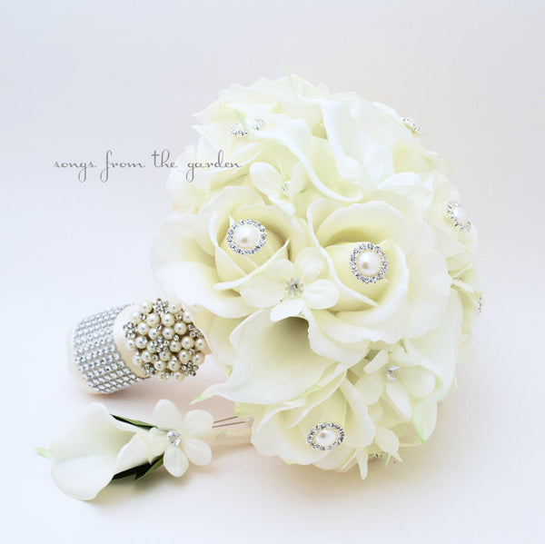 Silk Flower Bridal Bouquet Stephanotis Real Touch Roses Calla Lilies with Groom's Boutonniere