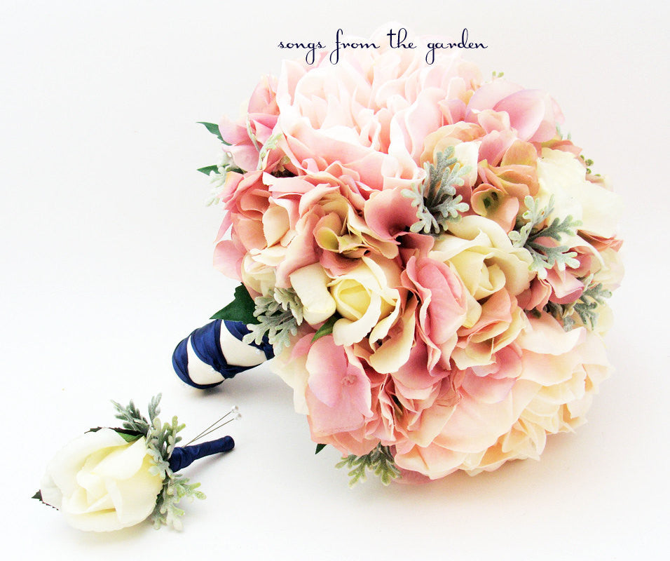 Bridal Bouquet Peonies Roses Hydrangea Pink Ivory Wedding Bouquet with Groom's Boutonniere