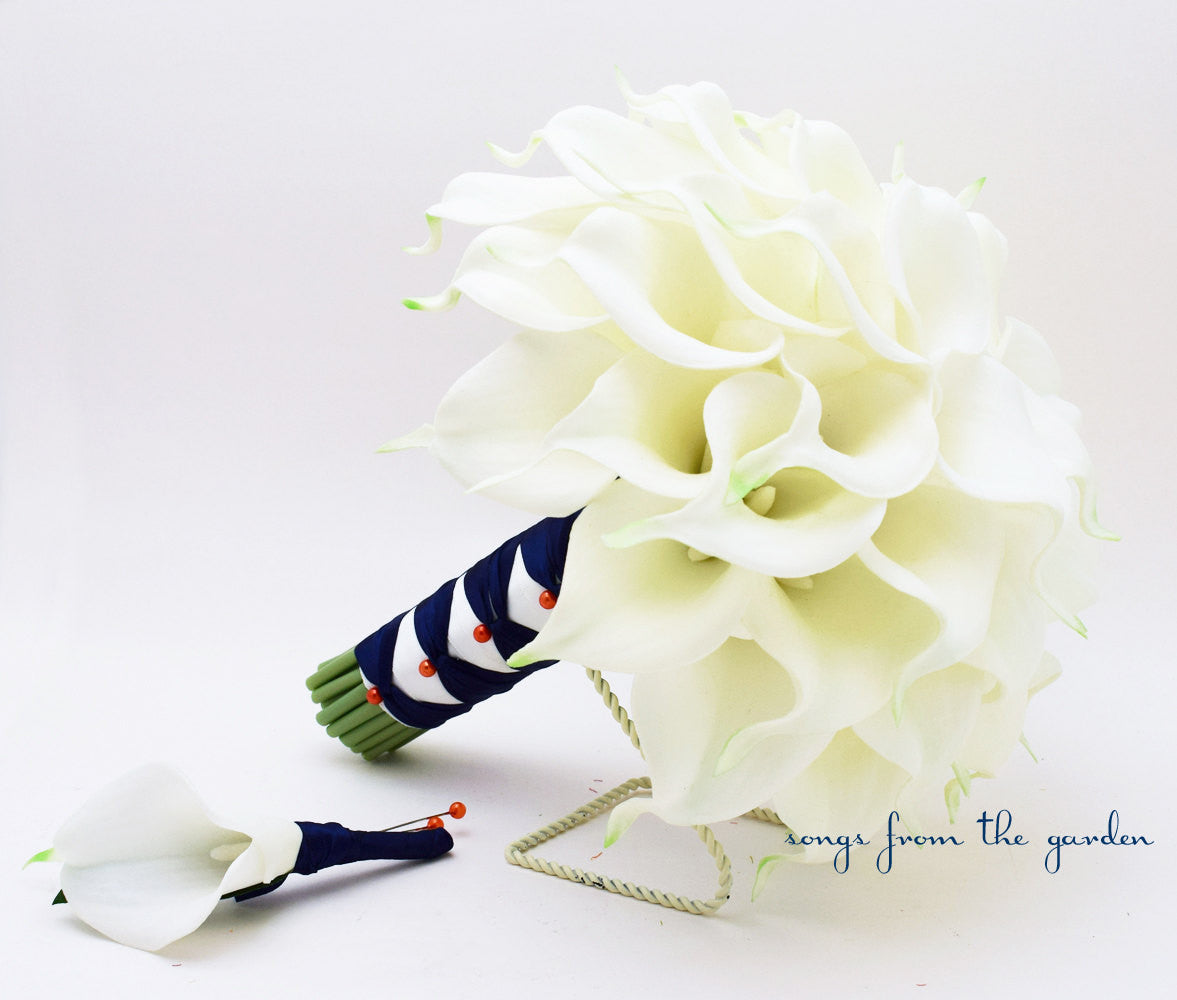 Real Touch Calla Lily Bridal Bouquet Groom's Boutonniere in White Orange and Navy