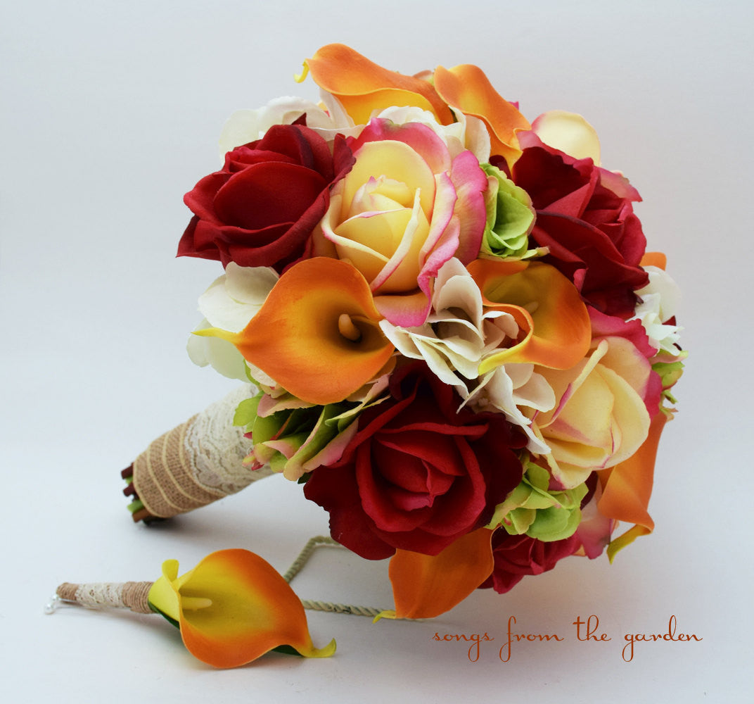 Autumn Wedding Bridal Bouquet and Groom's Boutonniere