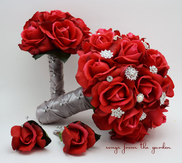 Red Real Touch Roses & Rhinestones Bridal Bridesmaid Bouquet Groom Groomsman Boutonniere