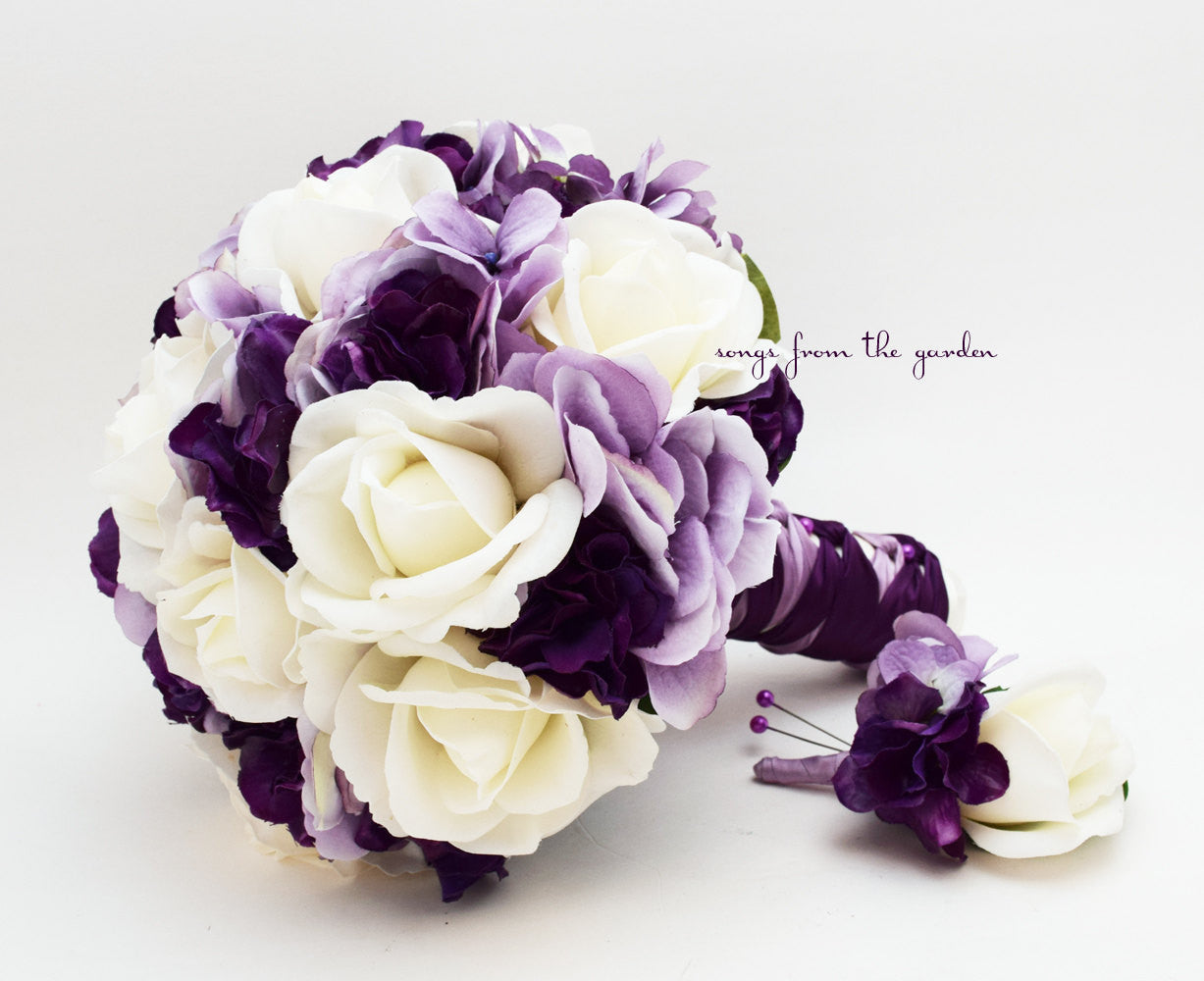 Bridal Bouquet Real Touch Roses Lavender & Purple Hydrangea Real Touch Rose with Groom's Boutonniere