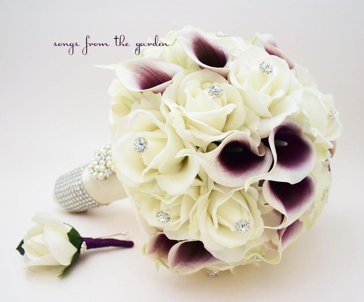 Bridal Bouquet Picasso Callas Roses Rhinestones - White Plum Purple & Groom's Boutonniere