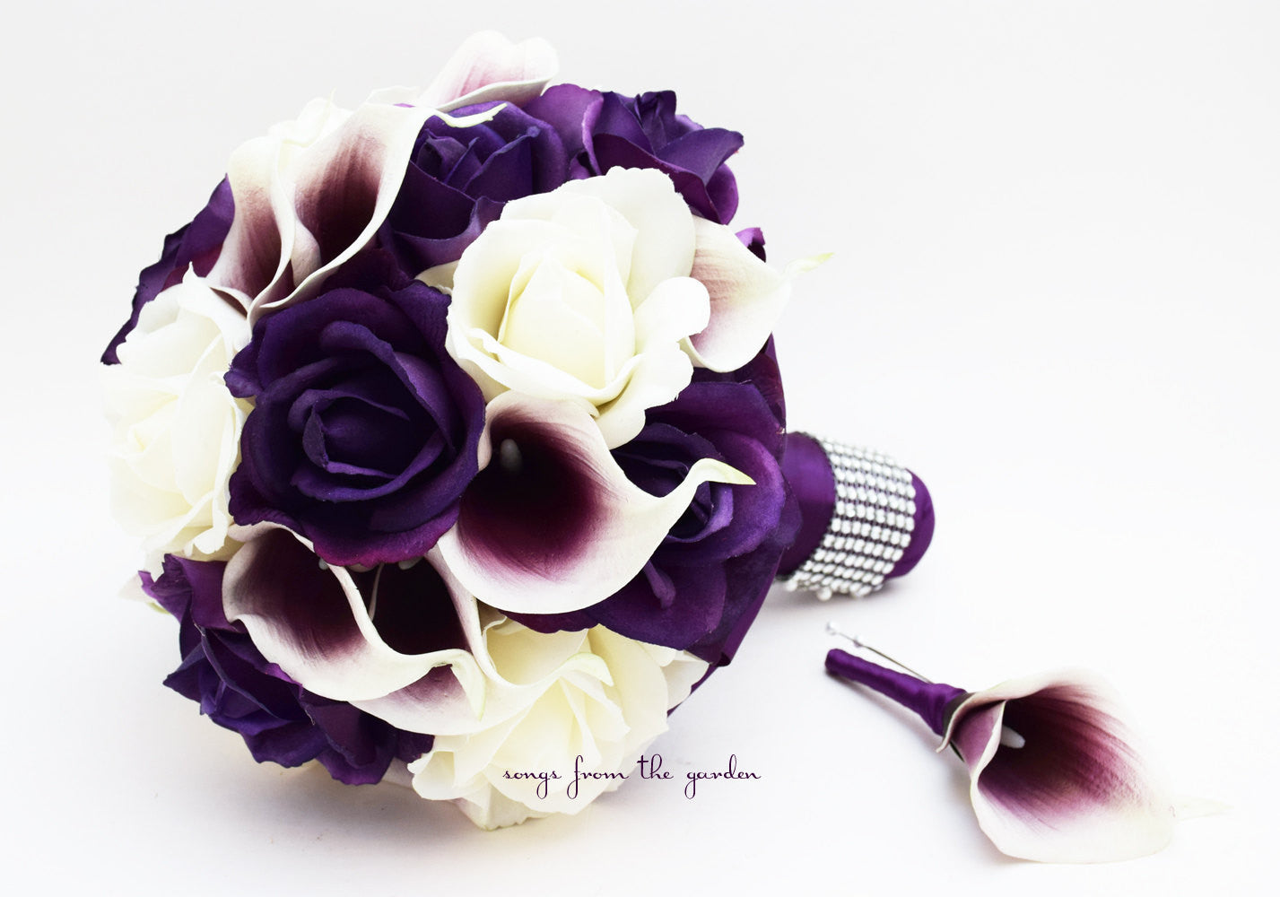 Real Touch Roses Picasso Calla Lilies Bridal Bouquet Grooms Boutonniere Purple Plum White