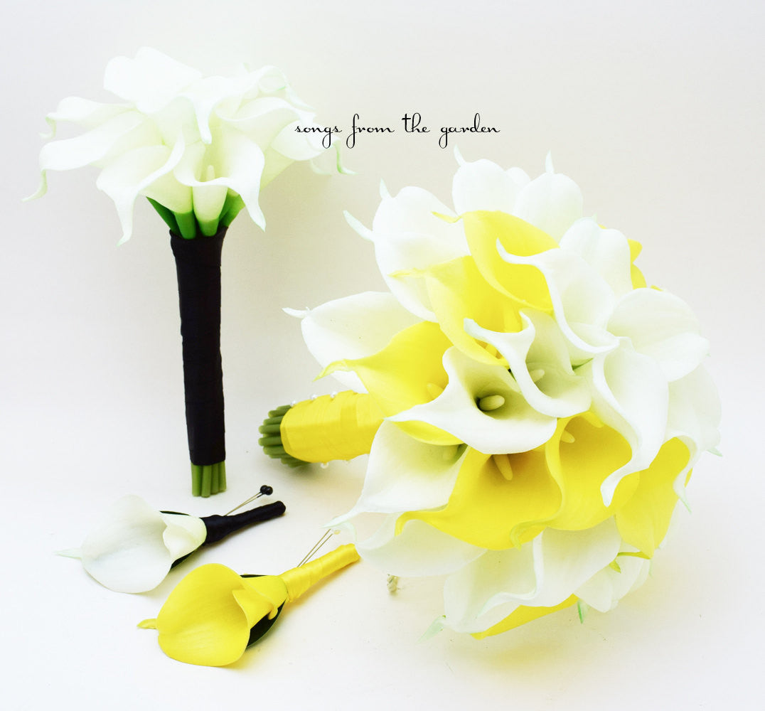 Yellow White Wedding Flowers Real Touch Calla Lily Bridal & Bridesmaid Bouquets