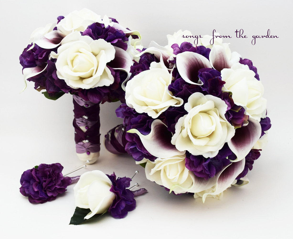 Purple Wedding Flower Package Callas Roses Bridal Bridesmaid Bouquet Grooms Groomsman Boutonniere