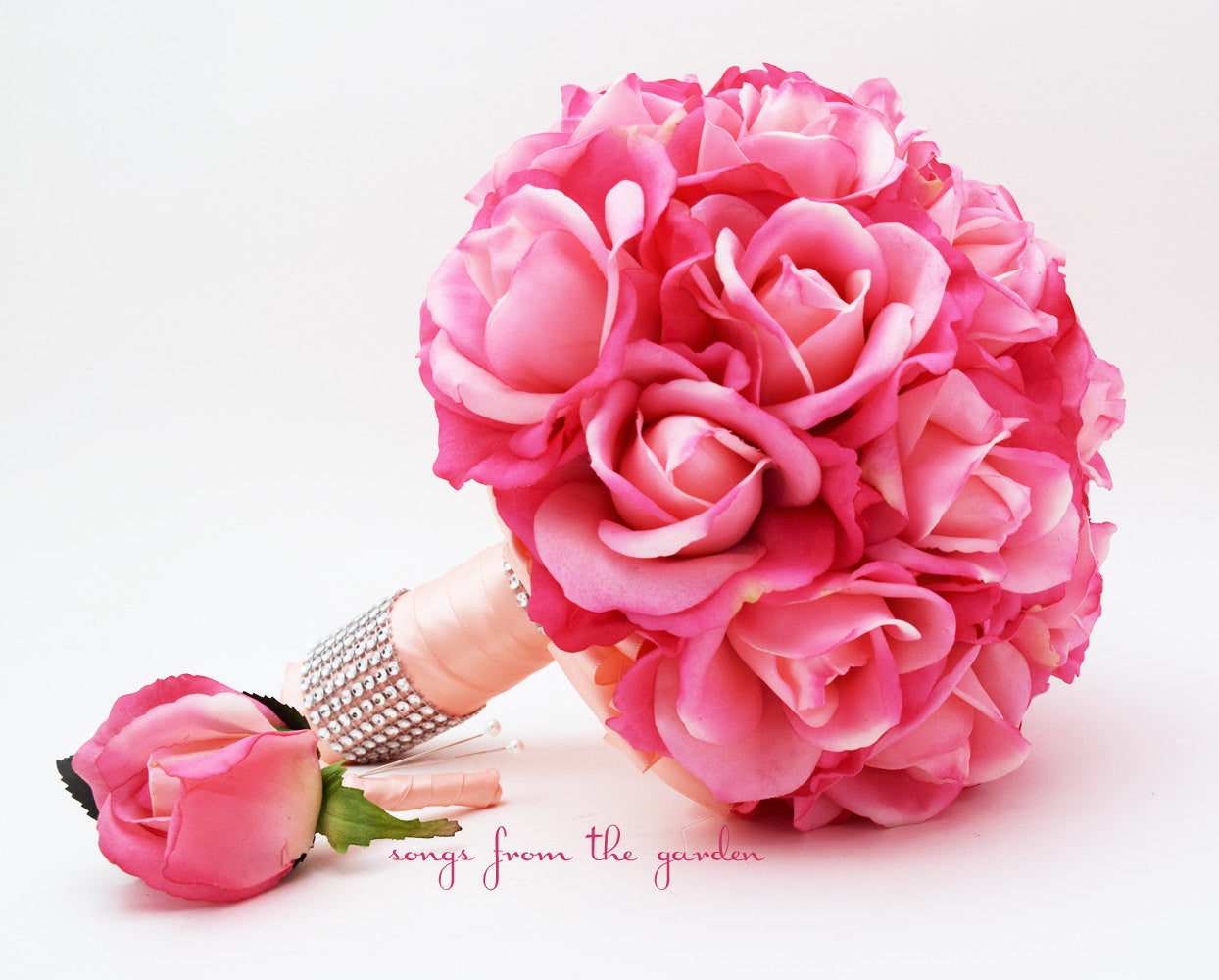 Bridal Bouquet Real Touch Roses Hot Pink Peach Wedding Bouquet