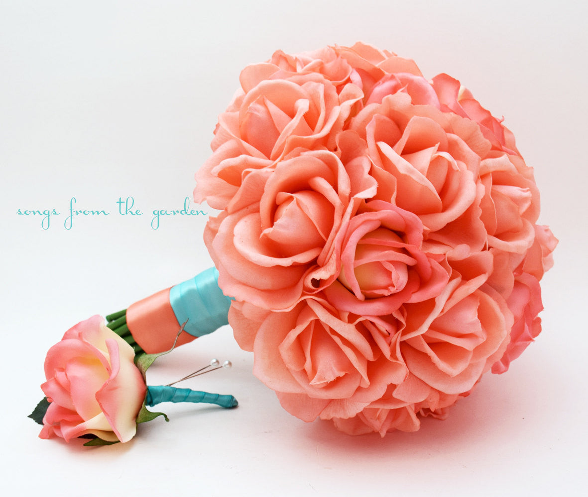 Coral Real Touch Roses Aqua Ribbon Wedding Bouquet Real Touch Silk Flower