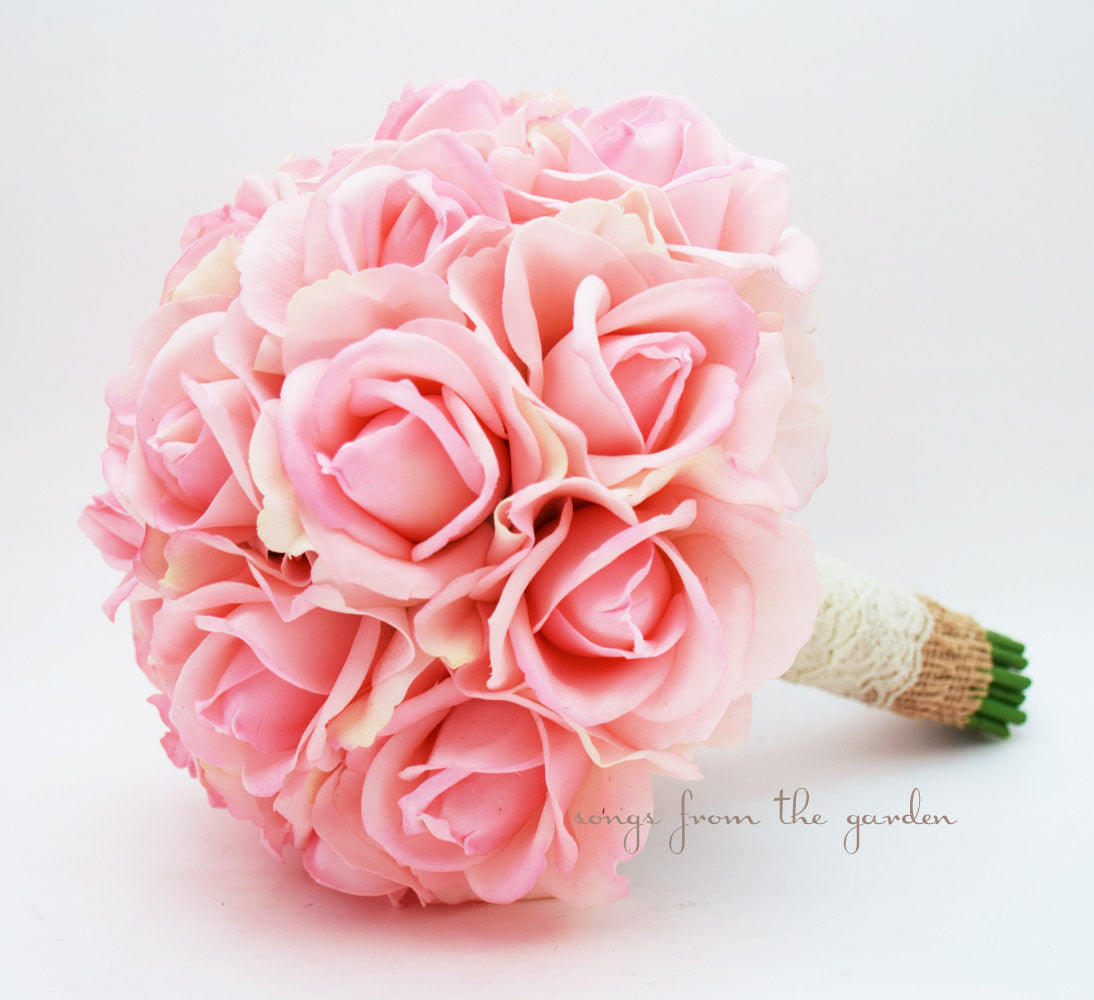 Pink Real Touch Roses Burlap & Lace Wedding Bouquet Silk Flower Wedding Real Touch Roses