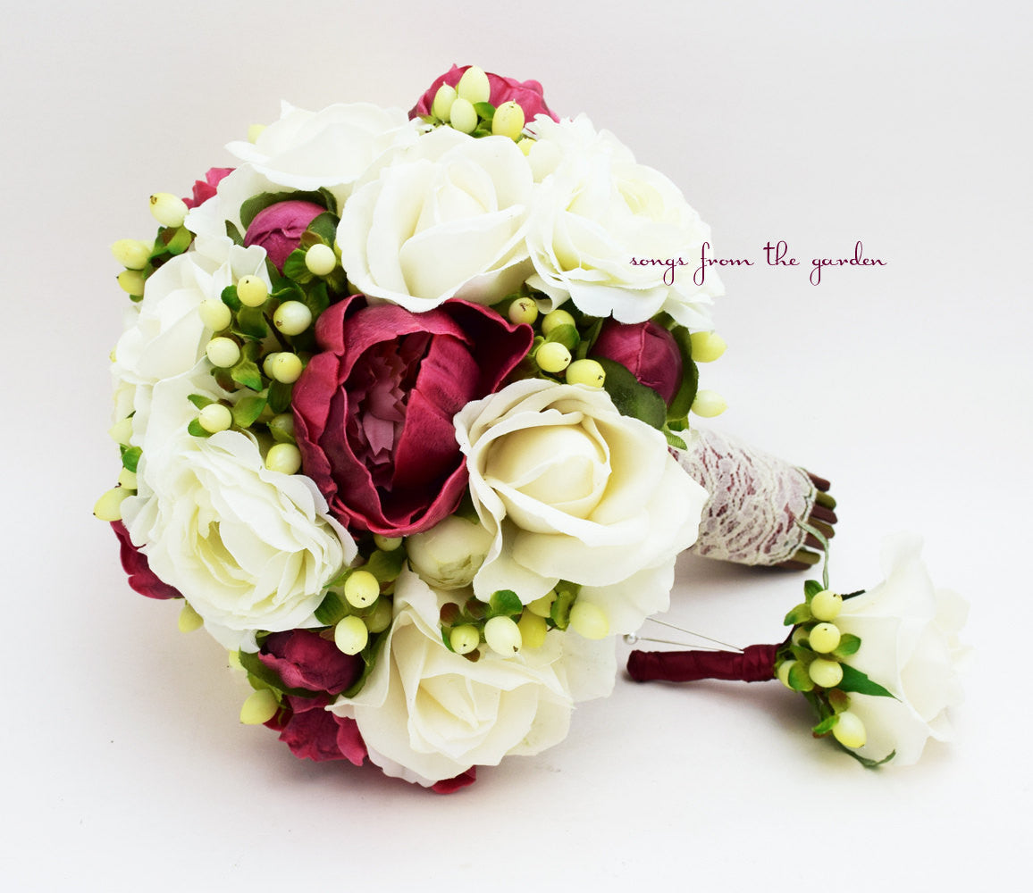 Winter Wedding Bridal Bouquet Peonies Berries Roses Burgundy White Ivory Lace