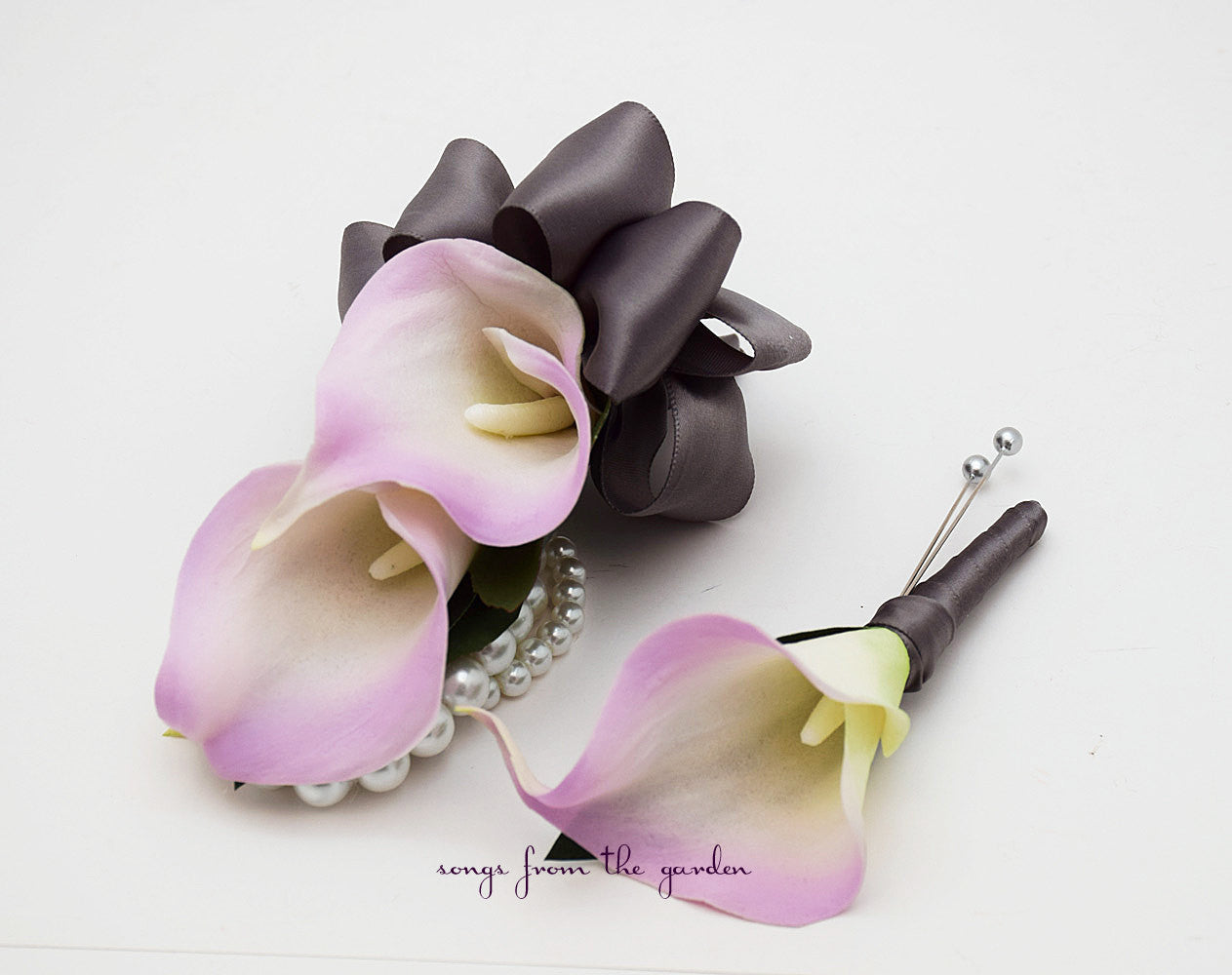 Lavender Calla Lily Boutonniere Corsage Wedding Flower Package Charcoal Grey Ribbon