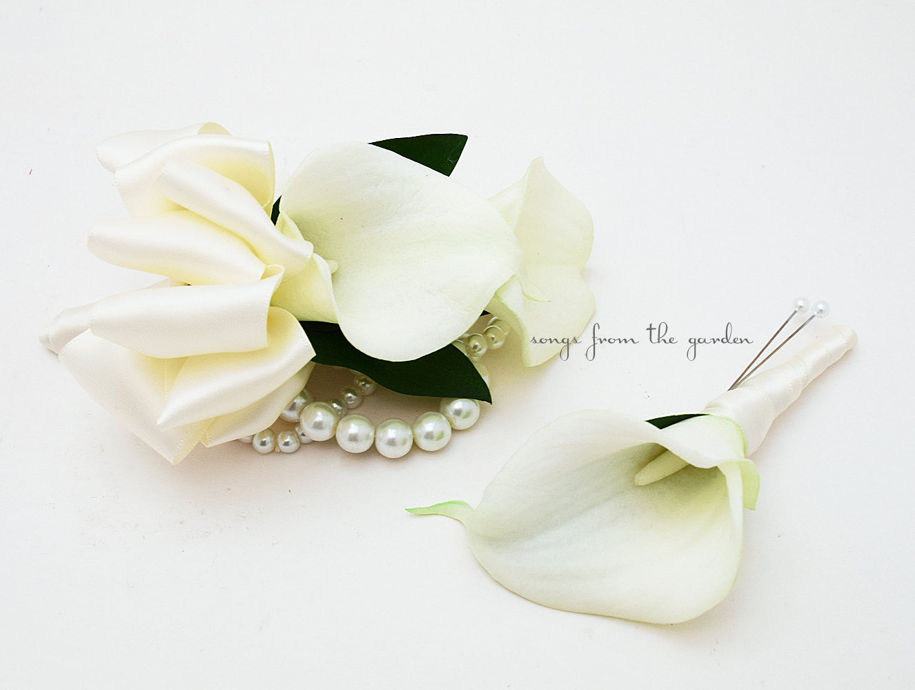 Real Touch White Calla Lily Boutonniere Corsage Wedding Flower Package Ivory Ribbon - Prom Corsage