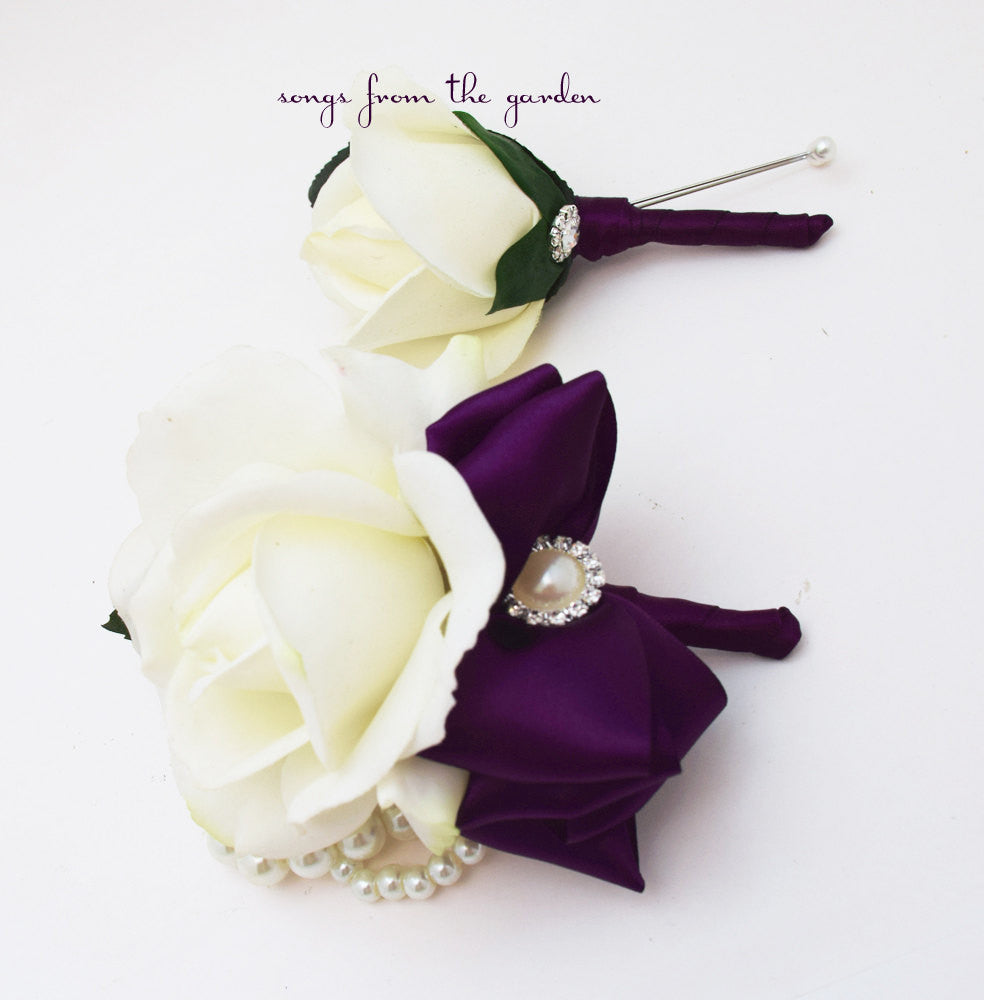 White & Plum Purple Real Touch Rose Wedding Boutonniere Corsage - Prom Homecoming