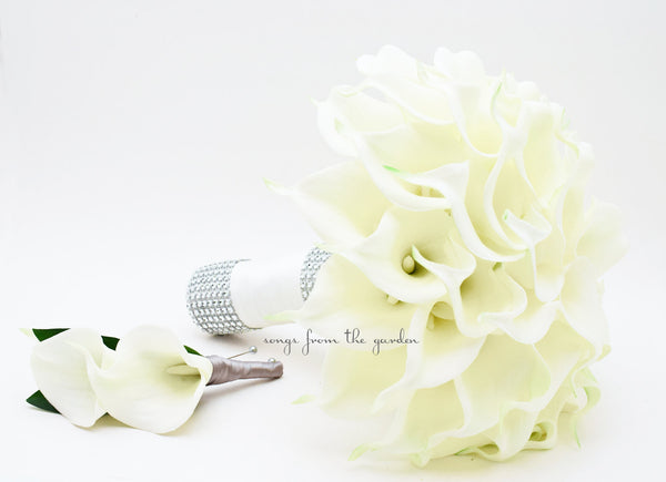 Real Touch Calla Lily Bridal Bouquet Groom's Boutonniere in White & Diamond Mesh Accents