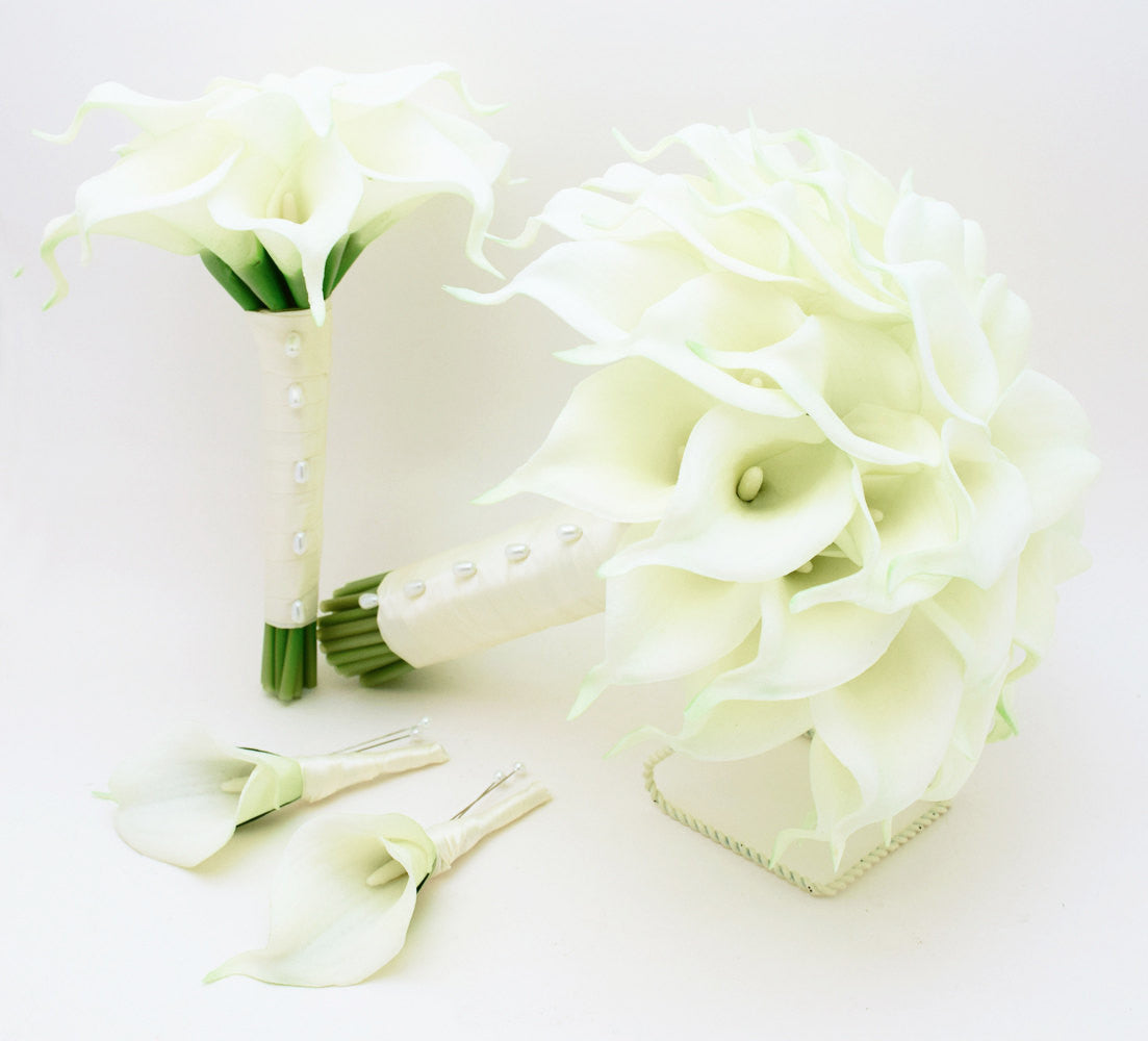 Calla Lily Bridal & Bridesmaid Bouquets White Calla Lilies Groom Groomsmen Boutonniere Ivory Ribbon
