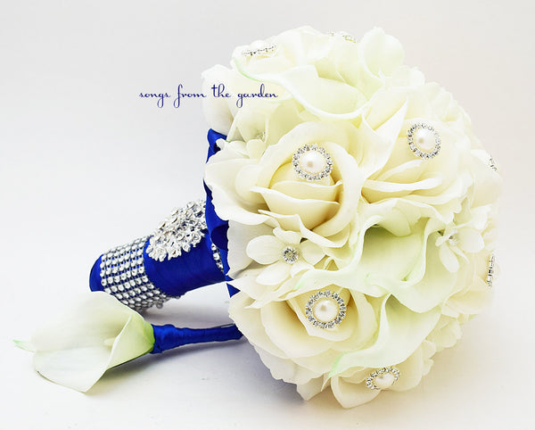 Real Touch Bridal Bouquet Stephanotis Roses Calla Lilies White Cobalt Blue & Groom's Boutonniere