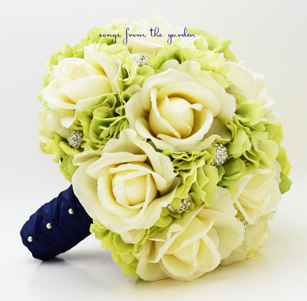 Bridal Bouquet Rhinestones Real Touch Roses Hydrangea in Green and Ivory with Rhinestones