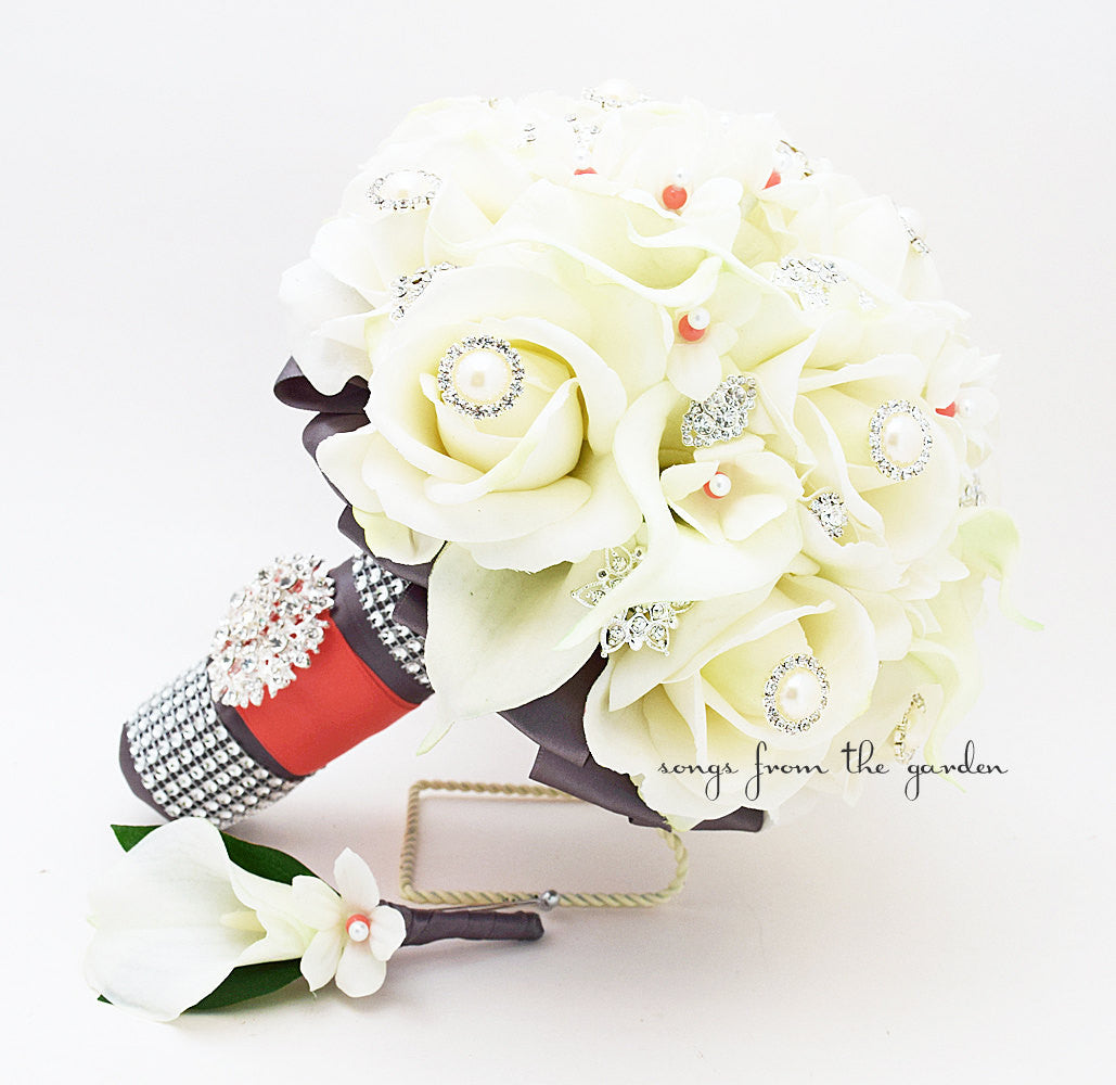 Coral & Charcoal Bridal Bouquet Roses Calla Lilies Stephanotis with Groom's Boutonniere