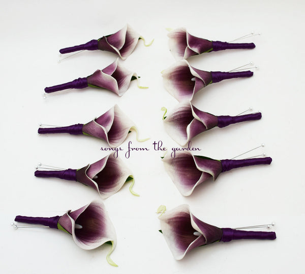 Real Touch Picasso Calla Boutonniere Groom Groomsmen - Plum Ribbon - Wedding Prom Boutonniere