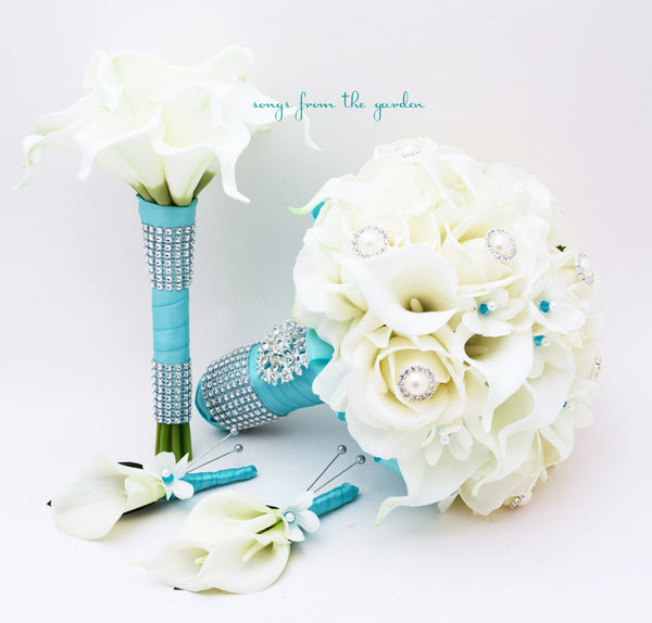 Bridal Bouquet Stephanotis Roses Calla Lily Aqua Blue Ribbon Bridesmaid Bouquet Groom's Boutonniere