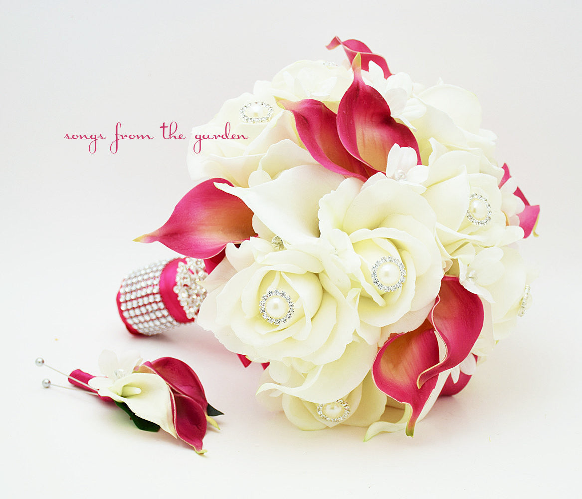 Fuchsia & White Bridal Bouquet Roses Calla Lilies Stephanotis with Groom's Boutonniere