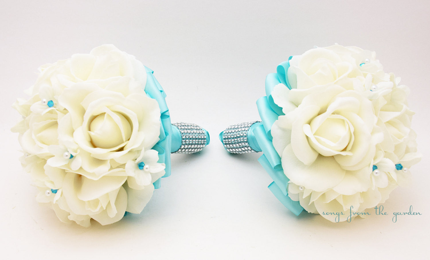 White Aqua Blue Wedding Flower Package Bridesmaid Bouquets Groomsman Boutonnieres