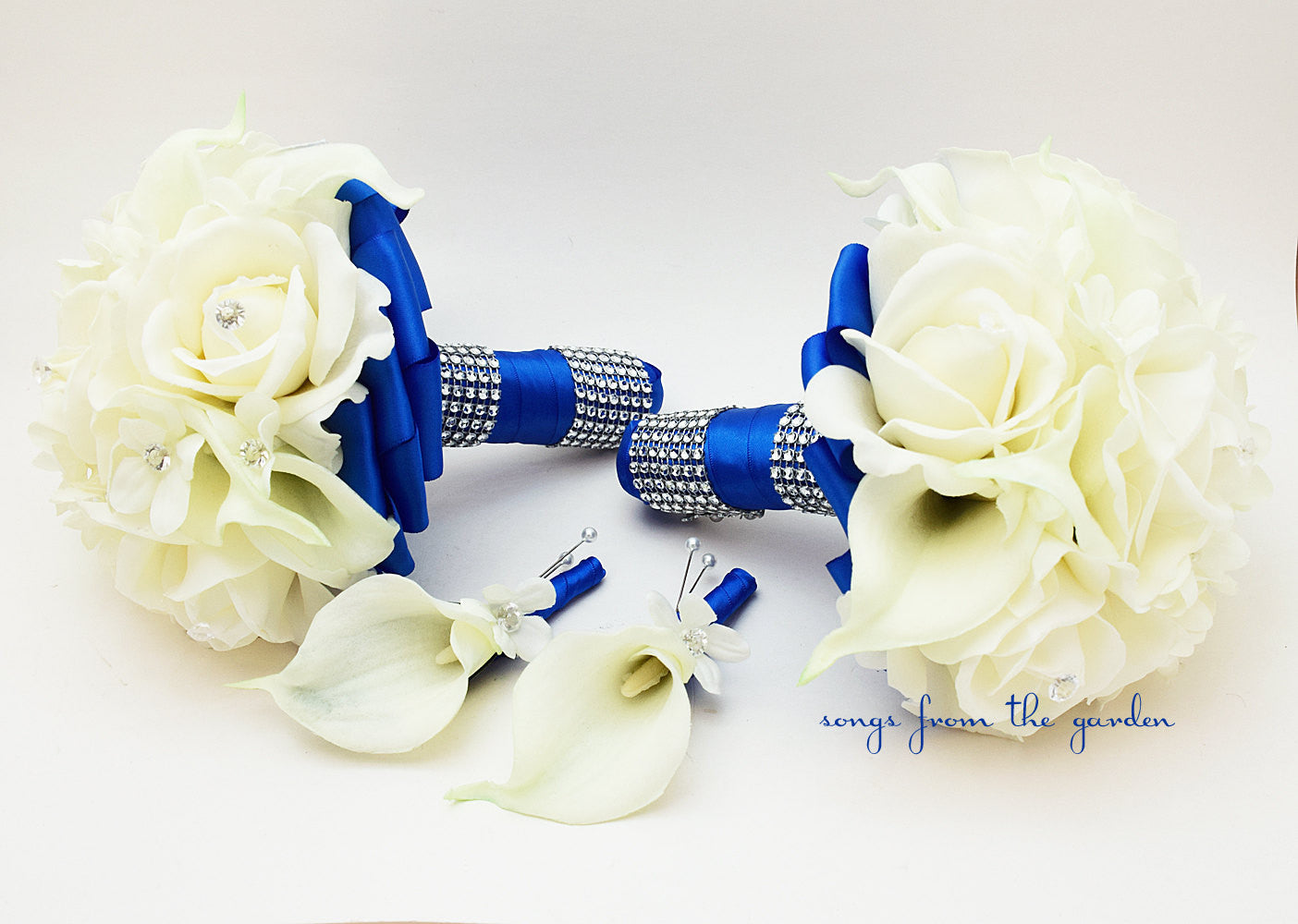 Royal Blue Wedding Bridesmaid Bouquets Groomsman Boutonnieres Stephanotis Roses Callas