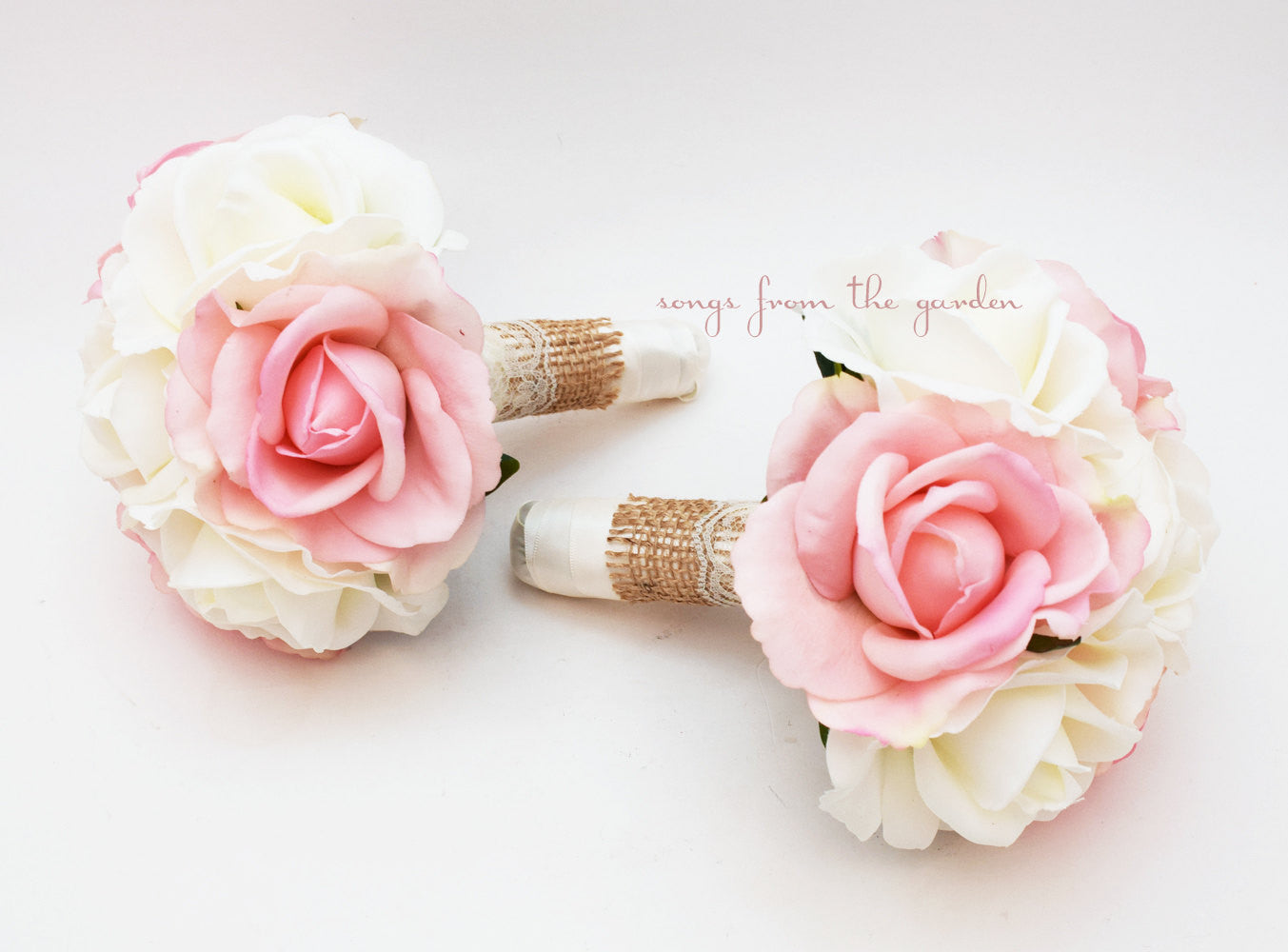 Burlap and Lace Wedding Flower Package Bridesmaid Bouquet Real Touch Roses Pink & White Roses