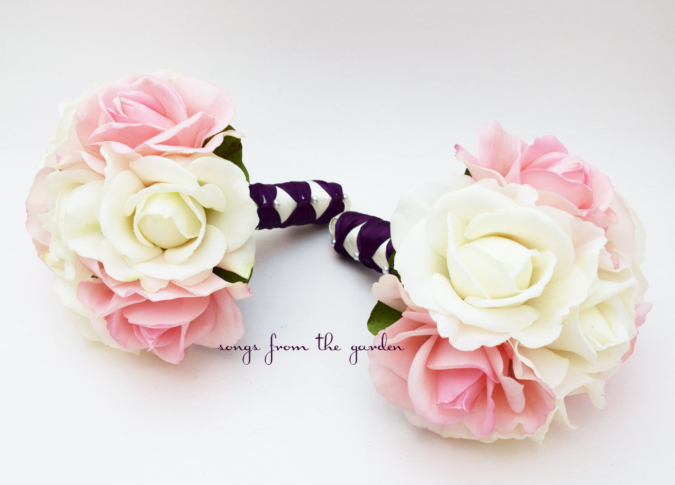 Pink White Rose Wedding Flower Package Bridesmaid Bouquet Real Touch Roses