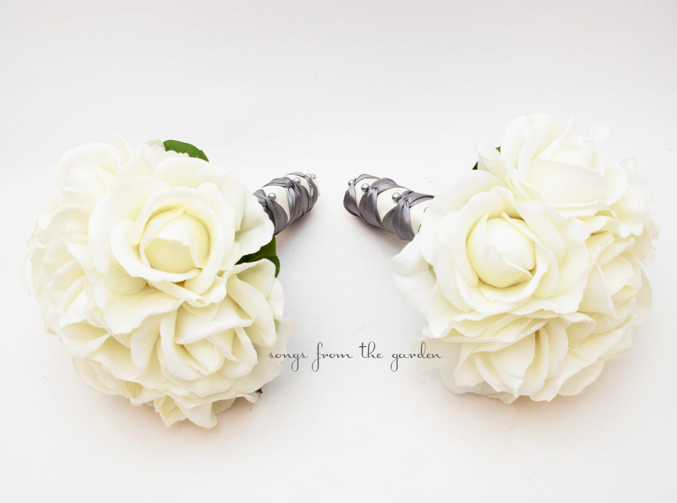 Silver White Rose Wedding Flower Package Bridesmaid Bouquet Real Touch Roses