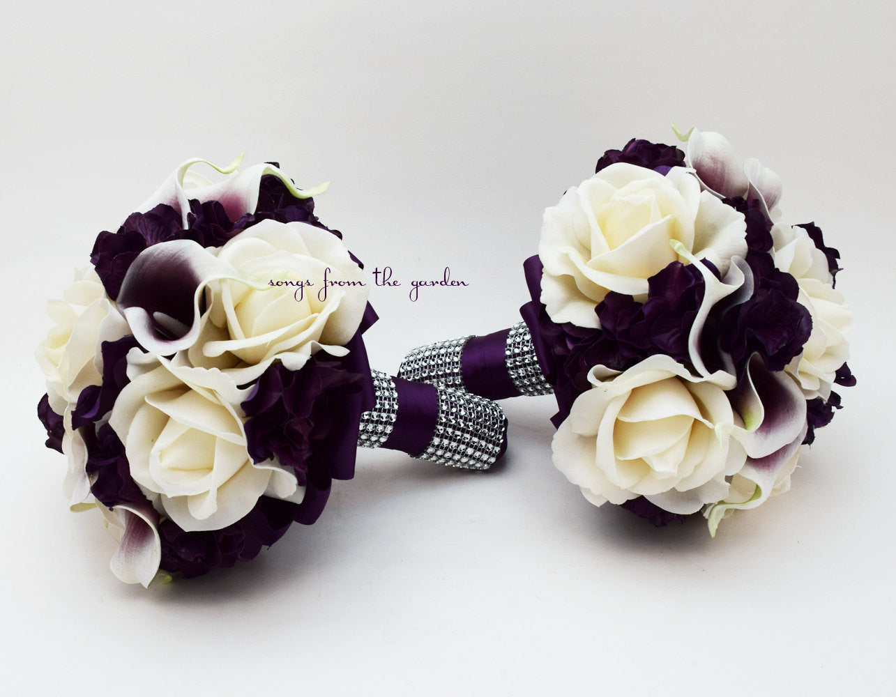 Purple Wedding Flower Package Bridesmaid Bouquets Purple Hydrangea Ivory Roses Picasso Callas